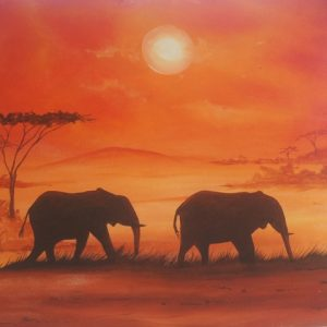 two-elephant-sunset