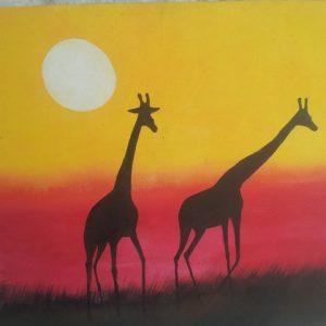 giraffe-sunset